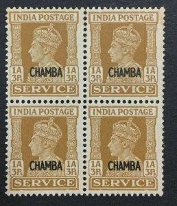 MOMEN: INDIA CHAMBA SG #O77 BLOCK 1941 MINT OG NH LOT #193643-2323