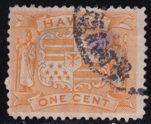 US HAWAII STAMP #74 1C 1894 YELLOW USED  STAMP