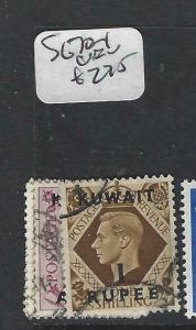 KUWAIT   (P2804B) ON   GB  KGVI  6 A, 1R    SG 70-1   VFU