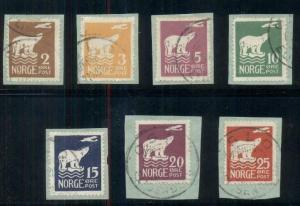 NORWAY #104-10, Complete Polar Bear & Airplane set, used on small piece,