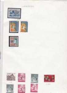 Japan stamps on album page Ref 9868