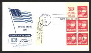 USA Sc# C79a (Fleetwood) FDC Booklet Pane/5 (b) 1973 12.27 13c Air Mail