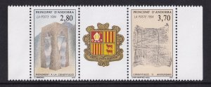 Andorra French  #434-435a  MNH  1994  pair with label . anniversary constitution
