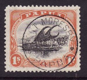 Papua-Sc#40a-1sh orange-used-Lakatoi-ship-dated-Port Moresby 19 Nov 1908-perf 11