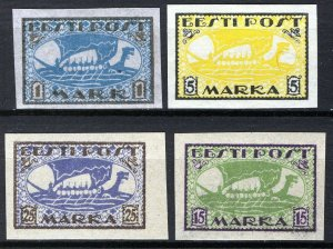 Estonia 1919-20, Vikingships, Mi 12y,13x, 23B, 24B, All MNH Cat +34,5€ (E10003)