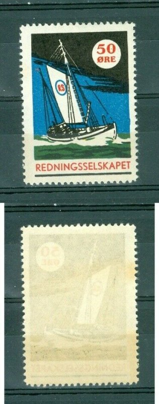 Norway. 1950 Poster Stamp. Mnh. RS. Rescue Association. Sail ship.