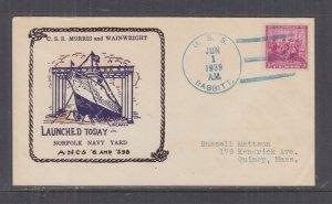 UNITED STATES, NAVY, USS  BABBITT, 1939 Illustrated cover.