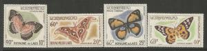 LAOS 101-103, C46, MINT HINGED, C/SET OF 4 STAMPS, BUTTERFLIES