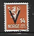 NORWAY, 213, USED, 1941 ISSUE, OVPTD V