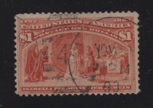 US#241 Salmon - $1.00 Columbian Exposition Issue - !893 Cancel