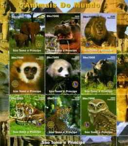 Sao Tome & Principe  2005 AFRICAN ANIMALS LIONS & ROTARY Sheet Perforated MintNH