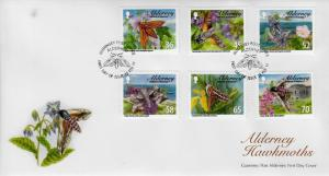 Alderney 2011 FDC Hawkmoths 6v Set Cover Insects Elephant Privet Hawkmoth Stamps