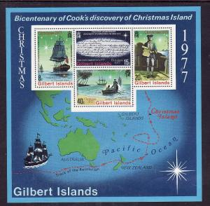 Gilbert Is.-Sc#303a-Unused NH sheet-Ships-Christmas-Capt. Cook-1977-