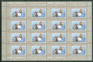 CANADA DUCKS  1986 WILDLIFE UNFOLDED SHEET of 16 #FWH2(VAN DAM) MNH...$375.00