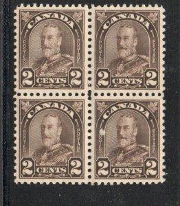Canada Sc  166 1931 2c dark brown GV stamp block of 4 mint NH