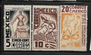 MEXICO,737-739, MINT HINGED, PLAN OF GUADALUPE