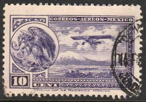 MEXICO C11, 10¢ EARLY AIR MAIL, COAT OF ARMS AND PLANE, SINGLE. USED. VF. (908)
