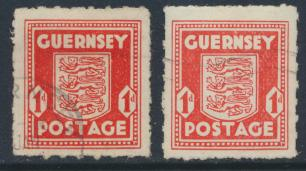 Guernsey  SG 2 and SG 2a   Used   scarlet and pale vermillion   see details