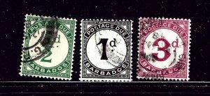 Barbados J1-3 Used 1934-47 postage dues