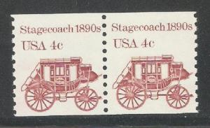 1982 US Transportation Issue,4c Stagecoach Coil Pair,Sc 1898A,VF MNH** (SL-1)
