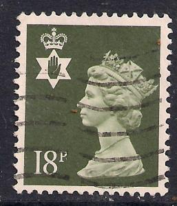Northern Ireland GB 1987 QE2 18p Olive Grey Machin SG NI 46 ( D5 )