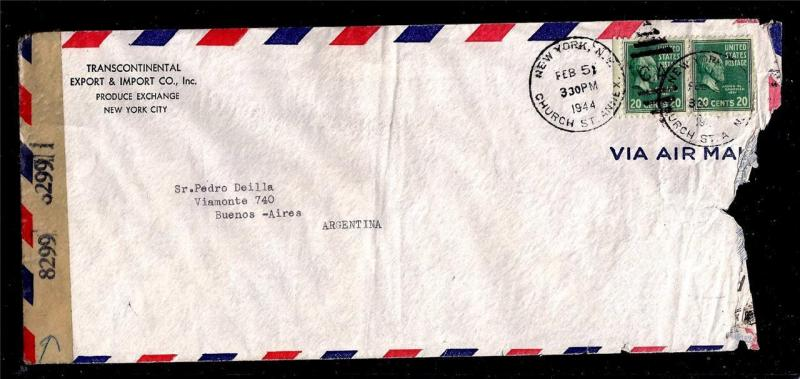 Prexie Duo 20c Garfield Usage Censored Legal Size Cover To Argentina Backstamp