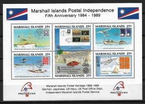 1989 Marshall Islands 230 Postal Independence 5th Anniv./Philexfrance MNH S/S
