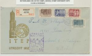 NETHERLANDS 1952 STAMP CENT EXPO SET ON 1st DAY COVER Sc#336-39 (SEE BELOW)