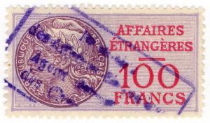 (I.B) France Revenue : Consular Service 100Fr (Affaires Etrangeres)