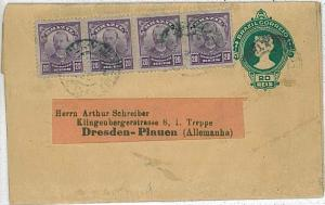 POSTAL STATIONERY WRAPPER with addede stamps: BRAZIL to GERMANY