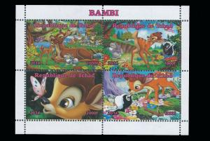 Chad – 2014 Disney Classic Movie Bambi  4 Stamp Sheet 3B-273
