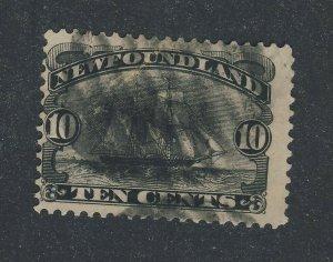 Newfoundland Used Stamp; #59-10c Ship F/VF Guide Value = $60.00