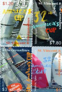 St.Vincent  2008 America's Cup Block of 4 Sc#3604 MNH VF