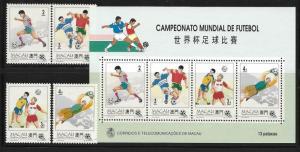 Macau Macao 1994 World Cup Soccer Stamp S/S MNH