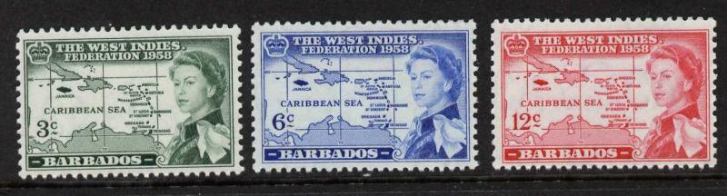 Barbados 248-50 MNH Map, West Indies Federation