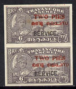 Indian States - Travancore-Cochin 1949 Official 2p on 6ca...
