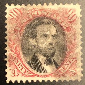 TangStamps  #122 Pictorial Issue 90c Used Lincoln, Small Thin And Repair