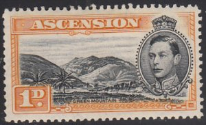 Ascension 1938-53 MH Sc #41A 1p Green Mountain SG #39ba Mountaineer flaw Perf 13
