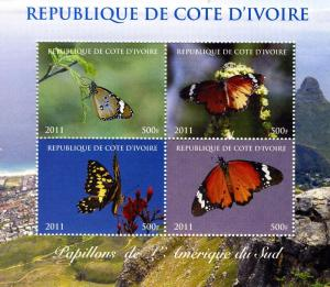 Butterflies of SOUTH AMERICA Sheet (4) Perforated Mint (NH)