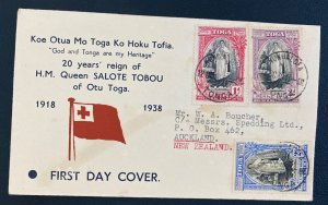 1939 Nukualof Tonga Toga Islands First Day Cover To New Zealand Queen Salote Tob