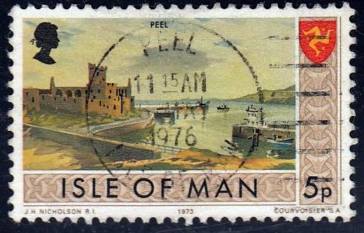 Isle of Man #20 Peel Castle and Shore issued in 1973. Used