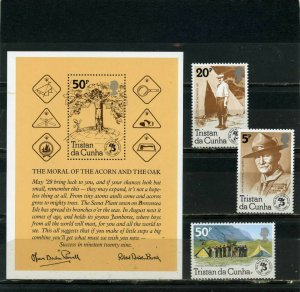 TRISTAN DA CUNHA 1982 SCOUTS SET OF 3 STAMPS & S/S  MNH