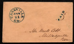 $Georgia Stampless cover Cassville Jan 24, 1852 blue CDS+PAID Howell Cobb
