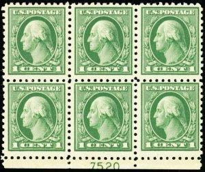 424, Mint VF H 1¢ Plate Block of Six A BEAUTY! Cat $60.00 - Stuart Katz