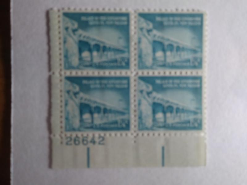 SCOTT # 1031A  1 1/4 CENT MINT NEVER HINGED PLATE BLOCK LIBERTY SERIES of 1952