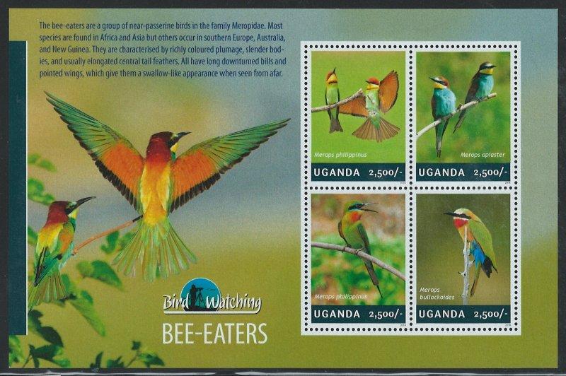 Uganda Scott 2120 MNH! Bee-Eaters! Sheet of 4!