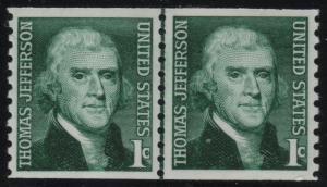 Scott 1299 1c Thomas Jefferson Line Pair NH