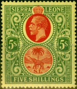 Sierra Leone 1927 5s Red & Green-Yellow SG145 Fine Lightly Mtd Mint