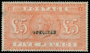 SG133s, SCARCE £5 orange, plate 4, LH MINT. Cat £3500. SPECIMEN. CC