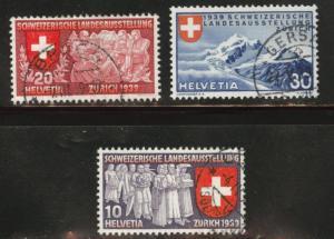 Switzerland Scott 250-252 used1939 stamp set